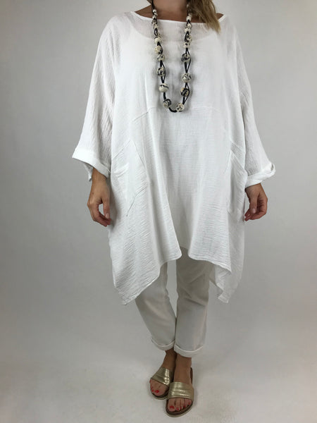 Lagenlook Trinny Oversized Cotton Top in White.code 18168