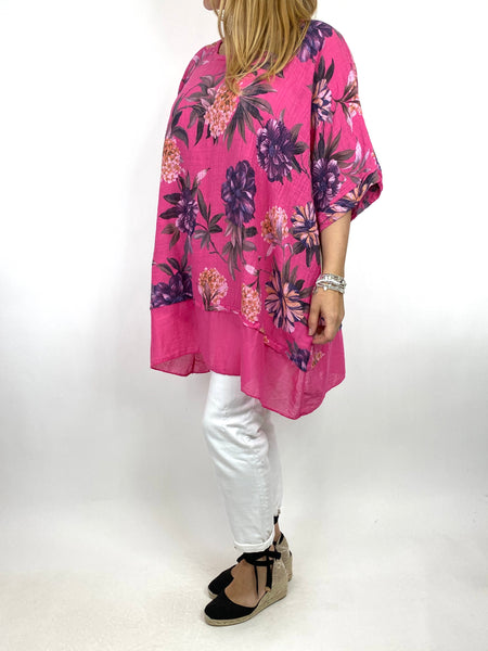 Lagenlook Aster Tropical Flower Top in Fuchsia. code 89420