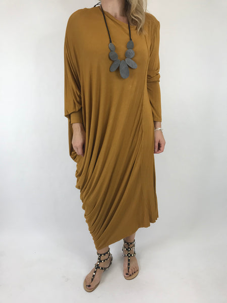 Lagenlook Quirky Angled Jersey Tunic In Mustard. code 9941