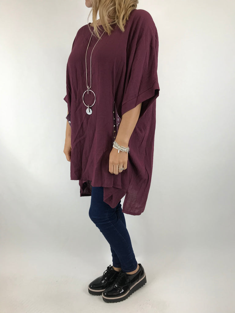 Lagenlook Stud Pocket Summer Cotton Top in Wine . code 5898