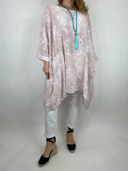 Lagenlook Rachel Flower Poncho In Pale pink. code 6363