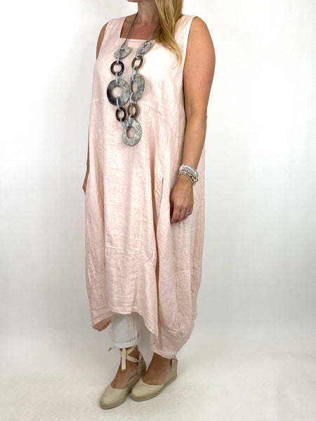 Lagenlook Bella Linen Square neck tunic in Pale Pink. code 8262