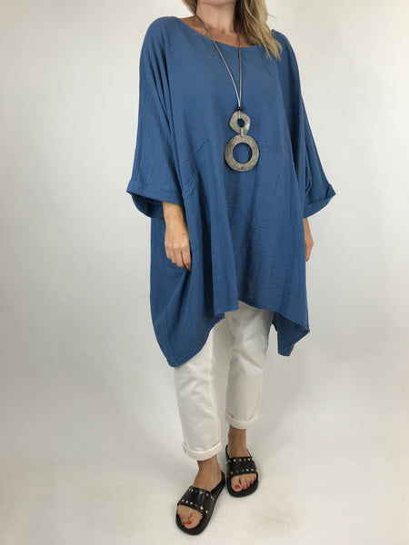 Lagenlook Trinny Oversized Cotton Top in Denim . code 18168