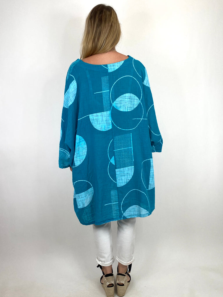 Lagenlook Camilla Patterned Top in Teal. code 91007