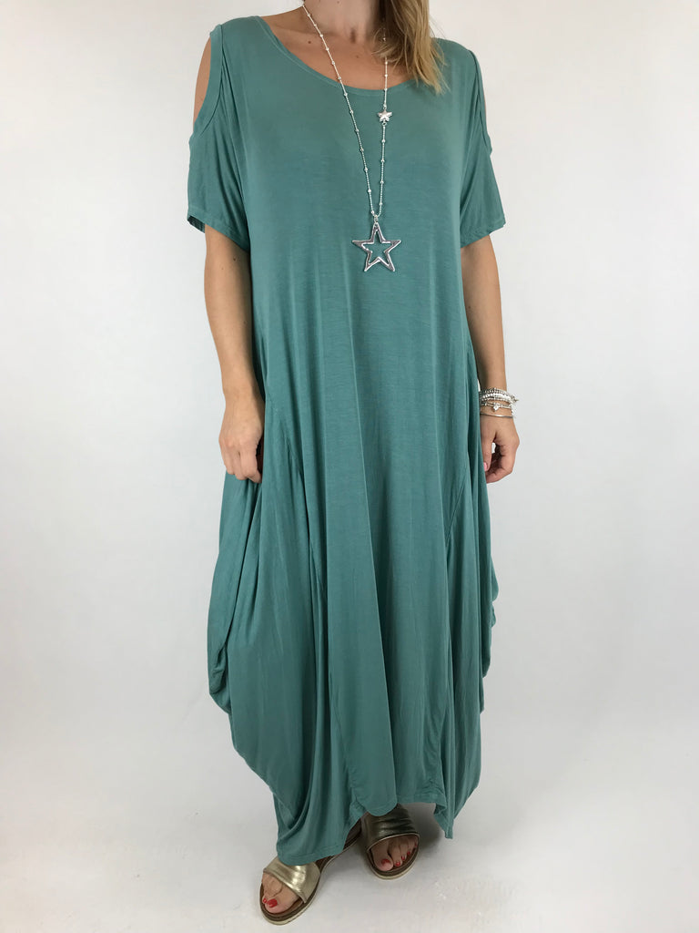 Lagenlook Long Plain Cold shoulder Tunic in seaweed. code 1026