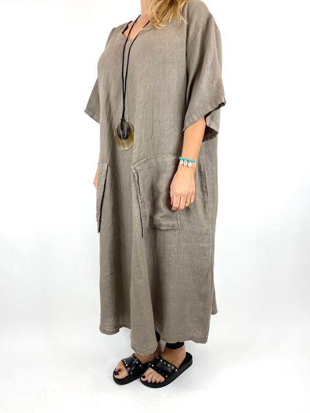 Lagenlook Deana V- Neck Linen Tunic in Mocha . code 8588