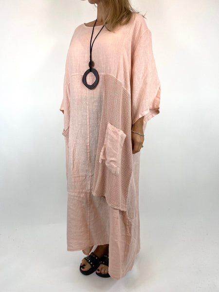 Lagenlook Emma Mesh Panel Linen Tunic in Pale Pink . code 87001