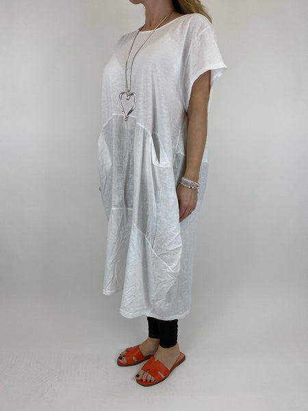 Lagenlook Layla Linen Panel Tee Tunic in White. code 90301