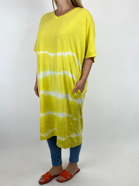 Lagenlook Cara Cotton Mix Tye-Dye V-Neck Top in Yellow. code 6888 - Lagenlook Clothing UK