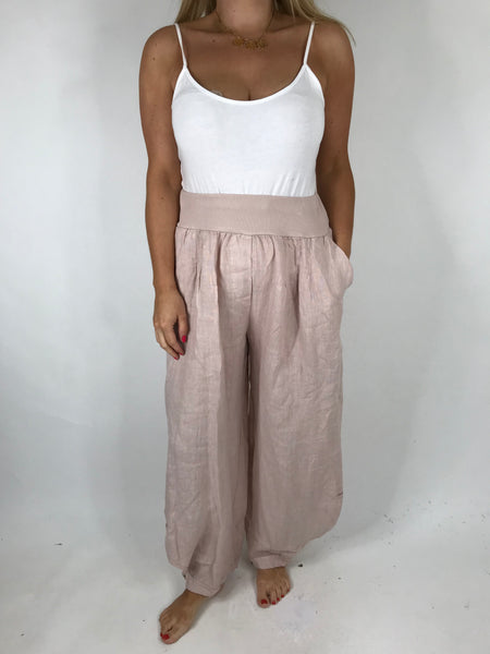 Lagenlook Hetty Button Linen Trousers in Pale Pink . code 5028