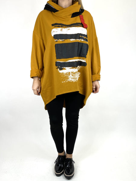 Lagenlook Stripe Paint Hood Top in Mustard. code 91152 - Lagenlook Clothing UK