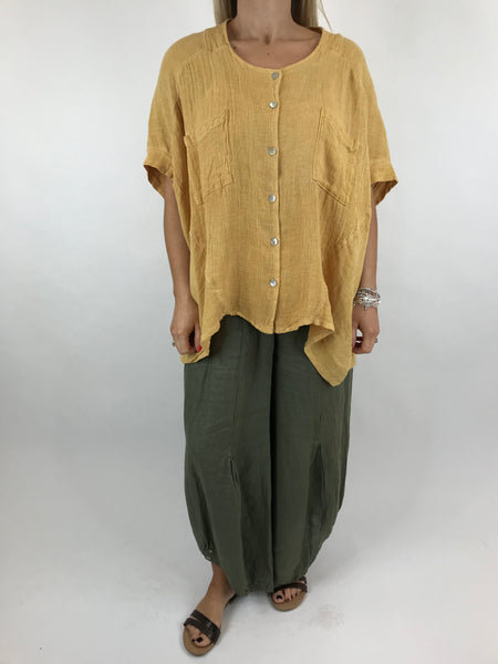 Lagenlook suzie button summer Top in Yellow. code 01065
