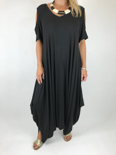 Lagenlook Made in Italy Jersey Jump Suit in Black. code 1544