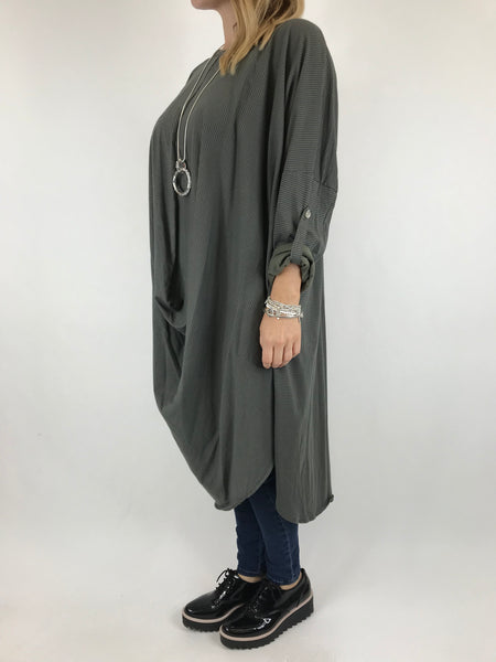 Lagenlook Cotton Fold Front Tunic in Khaki. code 5943