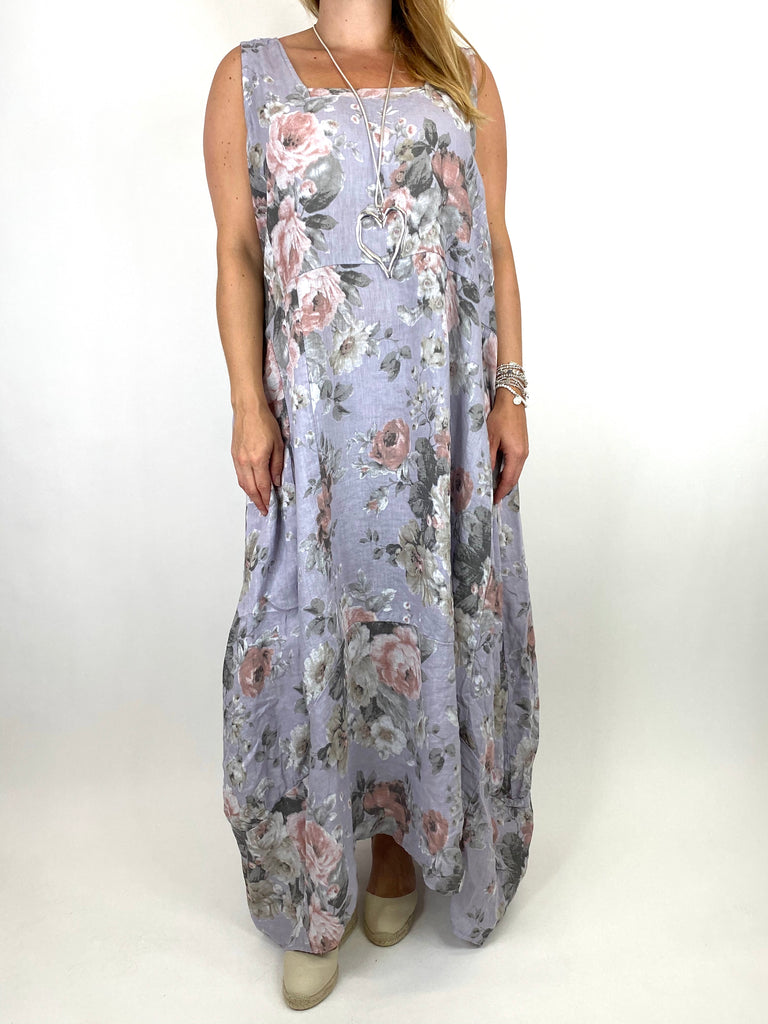 Lagenlook Emily-2 Plus Size Linen Flower Print Dress in Pale Grey.code 8262 - Lagenlook Clothing UK
