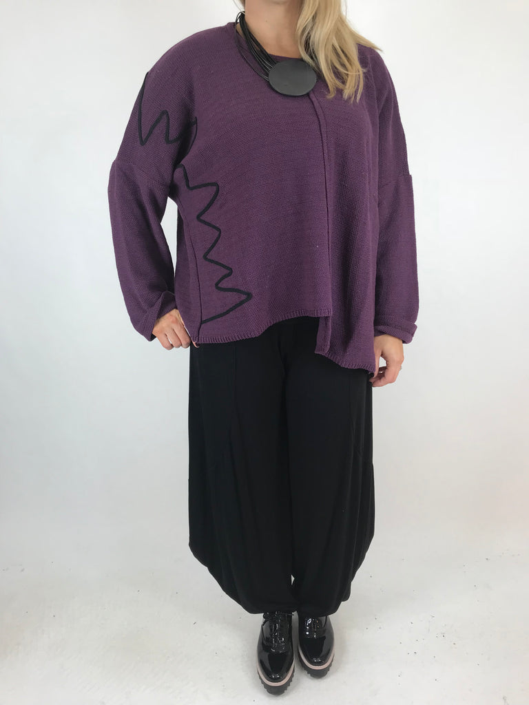 Lagenlook Casey Piped Jumper Short Knit Jumper in Purple. code 1841