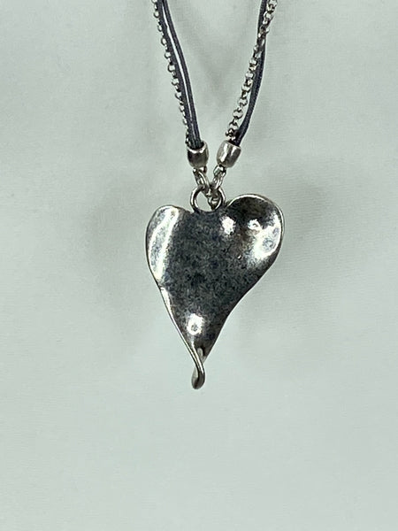 Lagenlook Heart Grey Cord  Necklace .Code XL1766