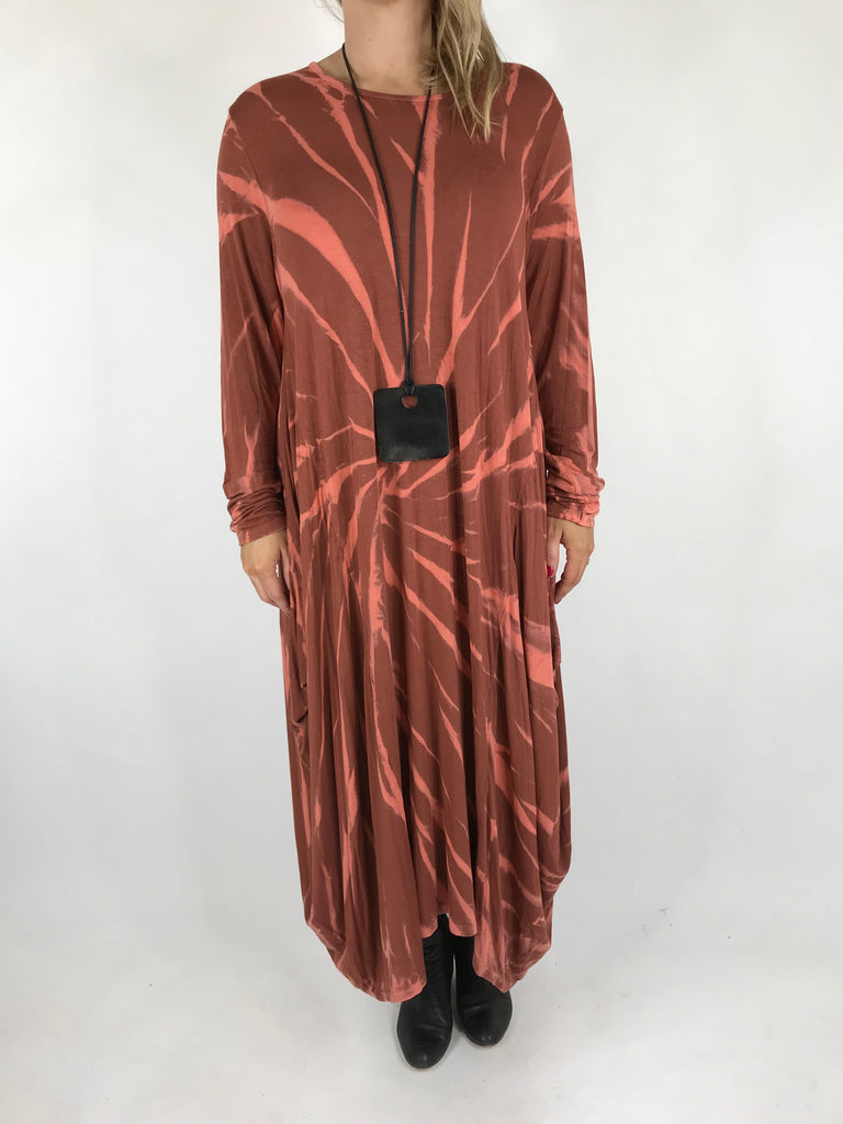 Lagenlook Long Tye-Dye Swirl Tunic in Rust. code 9553
