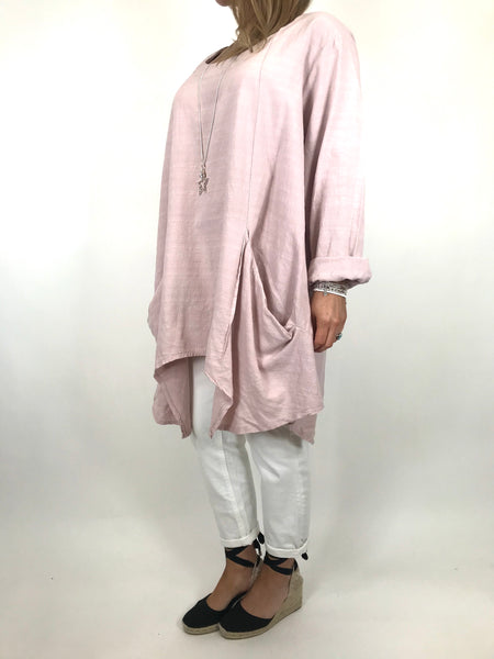 Lagenlook Libby Pocket Side Top in Pale Pink . code 6500