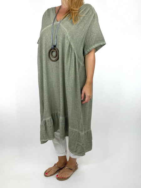 Lagenlook Horton Washed V-Neck top in Khaki. code 10436