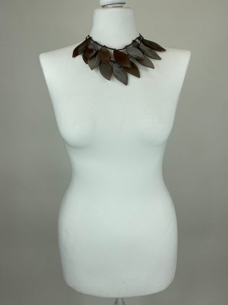 Lagenlook Brown Leaf Drop Short Necklace .Code BC-118 - Lagenlook Clothing UK