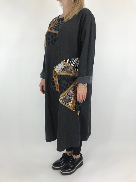 Lagenlook Donny Chain Print Patch Tunic in Charcoal Grey. code AB610