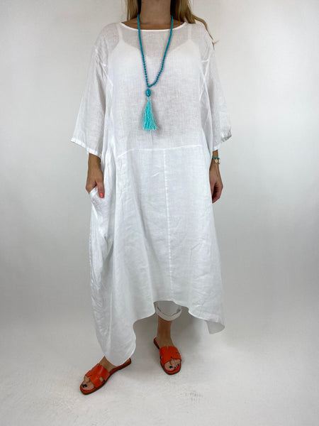 Lagenlook Upton Pocket Plain Linen Tunic in White. code 1809