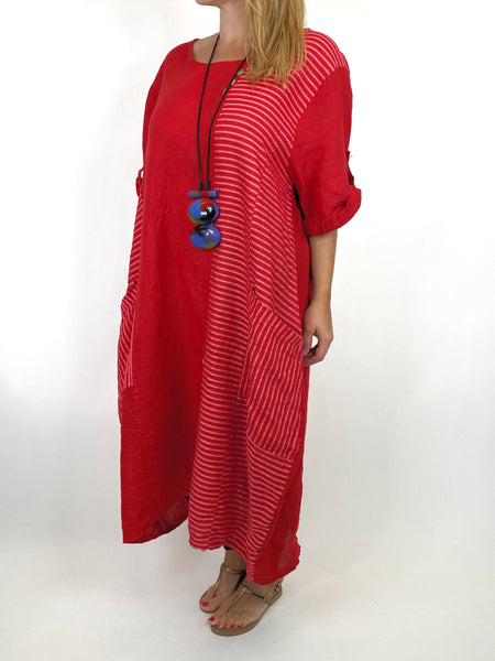 Lagenlook Claudia Button and Stripe Linen Tunic in Red. code 10377 - Lagenlook Clothing UK