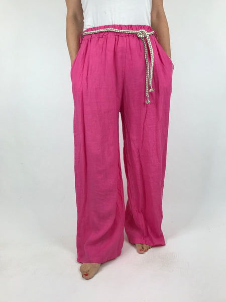 Lagenlook Polly Slim leg Linen Trousers in Fuchsia Pink. code 7354