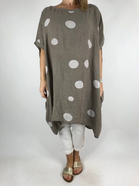 Lagenlook Lara  Dot Linen Tunic in Mocha .code 5868