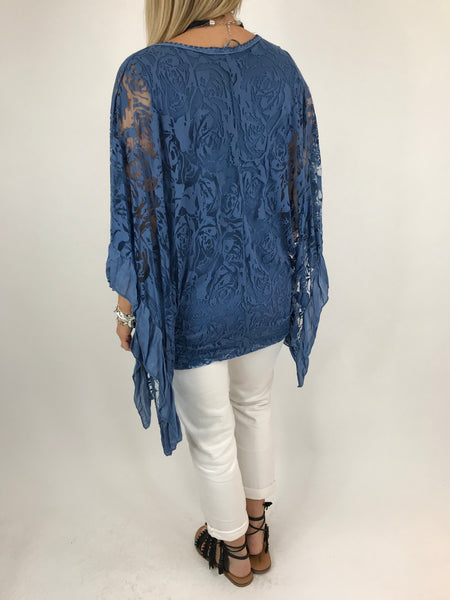 Lagenlook Flower Burn-out Frill Top in Denim. code 18226