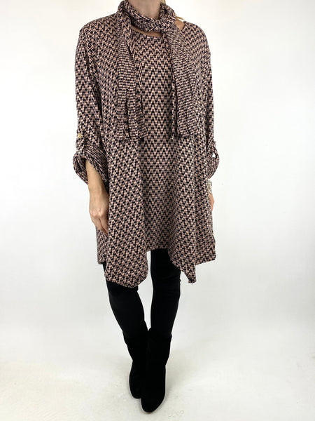 Lagenlook Zig -Zag  Scarf Top in Winter Pink. code 6188