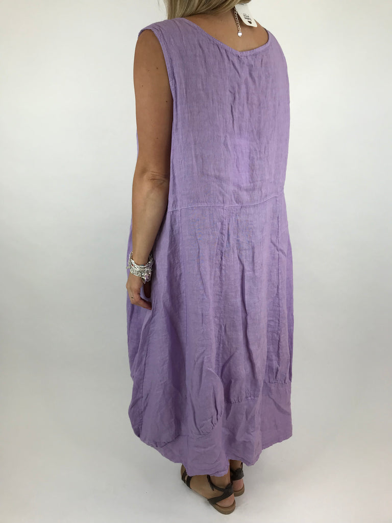 Lagenlook Square neck Linen Tunic Dress Top in Lilac. code 5698
