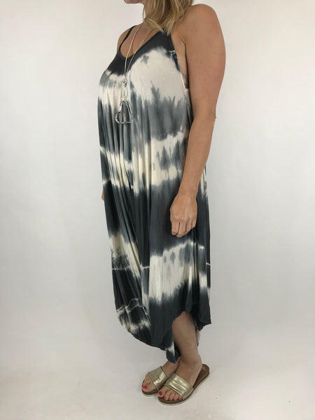 Lagenlook Tie Dye Loose fit jersey Jumpsuit in  charcoal. code 15041