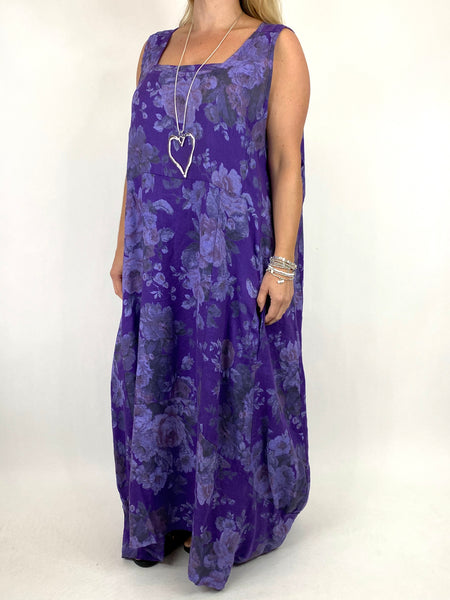 Lagenlook Emily-2 Plus Size Linen Flower Print Dress in Purple.code 8262