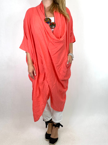 Lagenlook Cotton Wrap Dress Top in Coral . code 8307