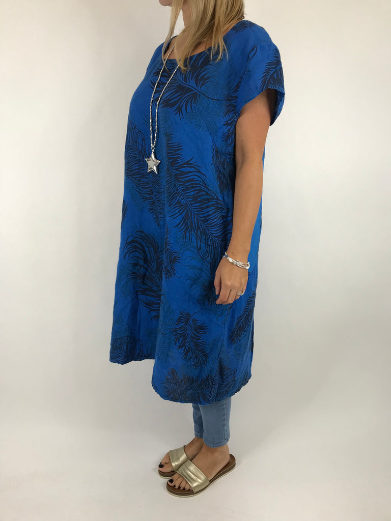 Lagenlook Bella Leaf Print tunic in Royal. Code 5355