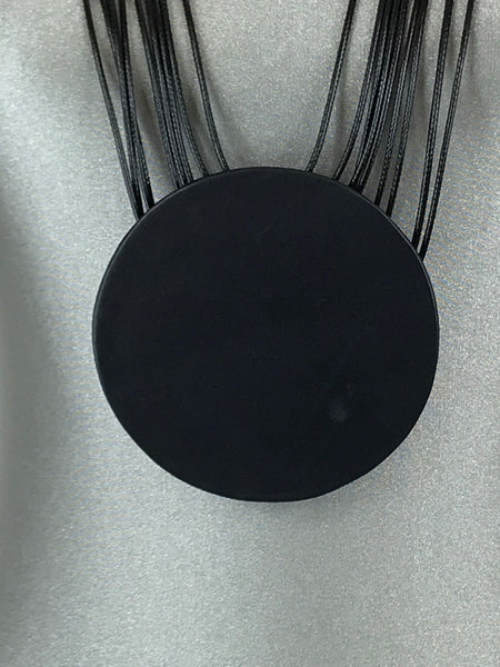 Lagenlook Leather Disc long  Necklace in Black. Code L11