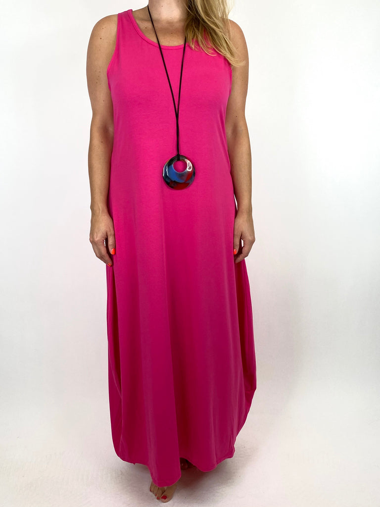 Lagenlook Babs Cotton Plain Tunic Dress in Fuchisa.code 91112 - Lagenlook Clothing UK