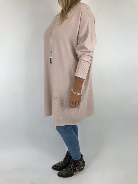Lagenlook Diaz Star Jumper in Soft Pink. Code 5367