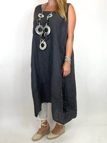 Lagenlook Bella Linen Square neck tunic in Charcoal. code 8262