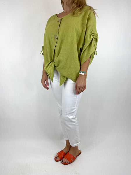 Lagenlook Wexford Button Linen Tie top Jacket in lime. code 1279