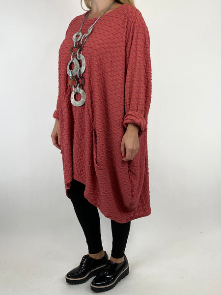 Lagenlook lottie Textured Large Waffle Parachute Hem Tunic In Salmon. code 91122 - Lagenlook Clothing UK