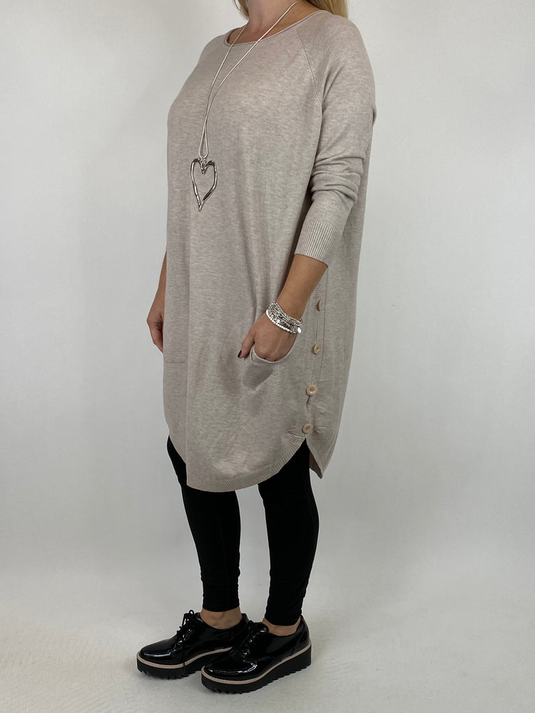 Lagenlook Amelie Button Side Jumper in Cream. code 2560 - Lagenlook Clothing UK