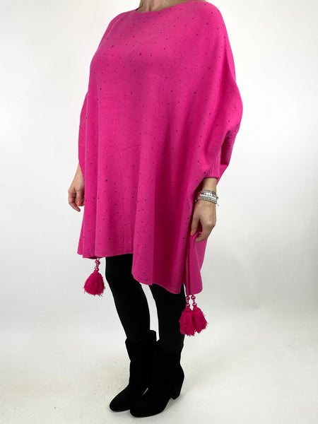 Lagenlook Carla Tassel Sparkle Jumper in Fuchsia. code 2755 - Lagenlook Clothing UK