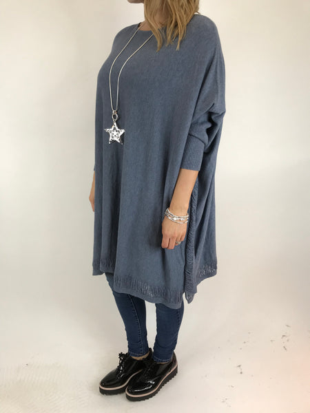 Lagenlook Ladder Edge Poncho Jumper in Denim. code 1193
