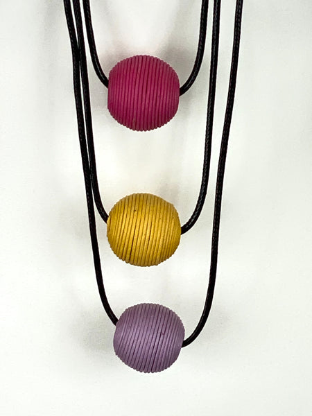 Lagenlook 3 Pastel thread beads Necklace code 5005pastel