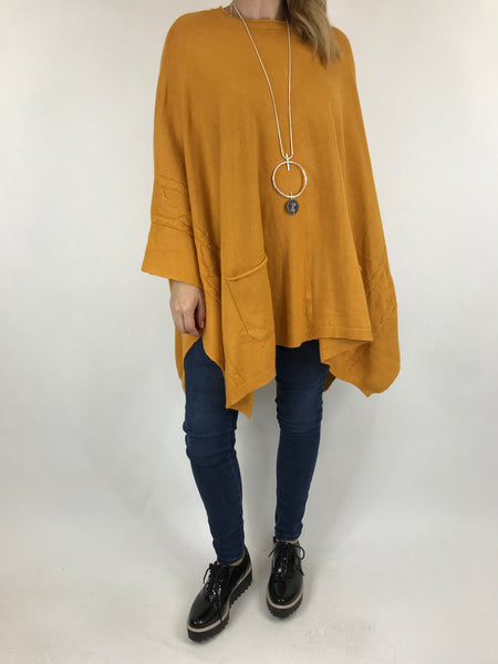 Lagenlook Button Side Poncho Jumper in Mustard. code 5922