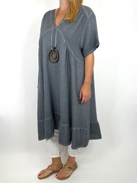 Lagenlook Horton Washed V-Neck top in Charcoal . code 10436