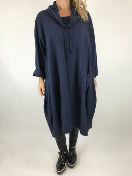Lagenlook Made in Italy Drawstring cowl Neck Tunic in Navy. code 5502